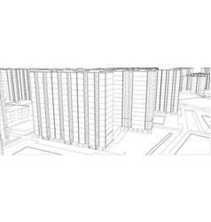 Wire-frame buildings vector