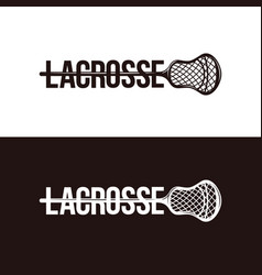 Wordmark lacrosse logo on black and white vector