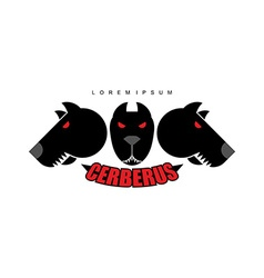 Cerberus-Warrior dog Logo of heads of dogs Scary vector image vector image