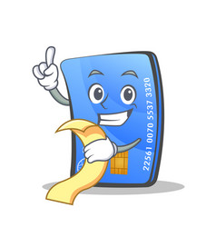 credit card character cartoon with menu vector image