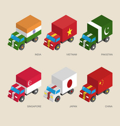 Set of isometric cargo trucks with flags vector