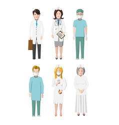 Set of six doctors flat cartoon characters vector image vector image