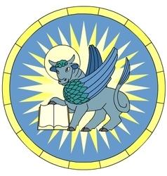 Symbol of Luke the Evangelist Winged Ox emblem vector image vector image