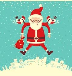 Bullfinch and Santa Claus flying in winter vector image