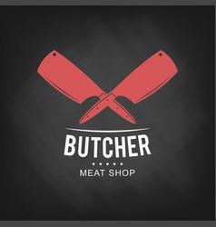 butcher meat shop logo design retro butcher shop vector image vector image
