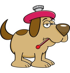 Cartoon of a sick dog with a thermome vector image