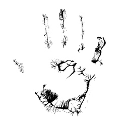 fat human hand imprint on black vertical vector image vector image