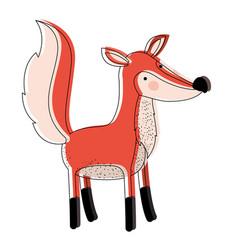 fox cartoon watercolor silhouette in white vector image