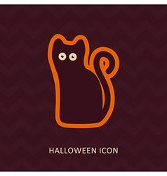 Halloween black cat silhouette icon vector image