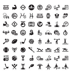 big fitness icon set vector image vector image