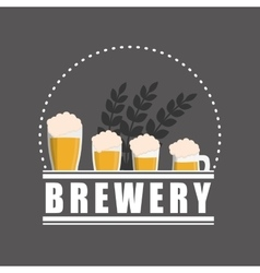 Brewery beer glasses label gray background vector