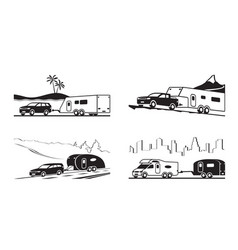 cars with caravans and camper vector image vector image