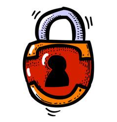 cartoon image of lock icon lock symbol vector image vector image