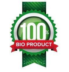 Hundred percent bio product green ribbon vector