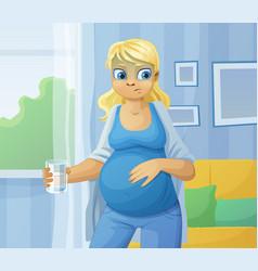 pregnant woman feel sick vector image