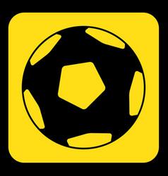 yellow black sign - football soccer ball icon vector image