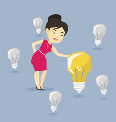 asian businesswoman having business idea vector image
