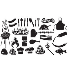 barbecue and food icons set vector image vector image