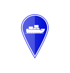 blue map pointer with cargo ship vector image vector image