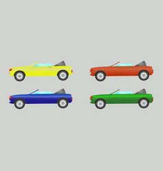 set of cars convertible in different colors vector image