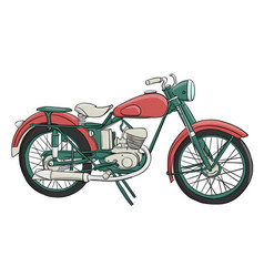 a pink and turquose motorcycle stands on a white vector image