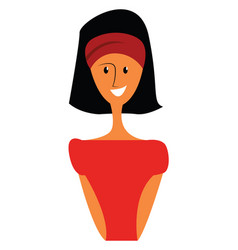a smart girl wearing a red dress and head bandana vector image