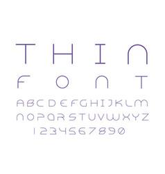 Alien thin font alphabet vector