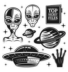 aliens and ufo set paranormal activity elements vector image