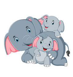 An elephant have fun play with their family vector