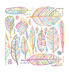 art feathers collection ornate sketch for your vector image