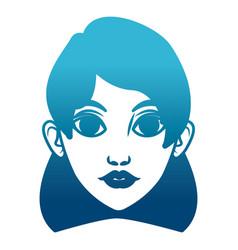 beautiful woman face cartoon vector image