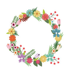 beautiful wreath elegant floral leaves and flowers vector image