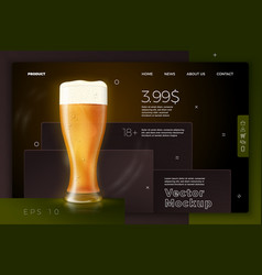 Beer glass on bright modern site template vector