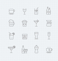 Beverage thin line symbol icon vector