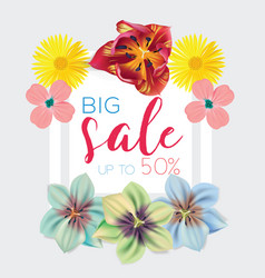 Big sale template with flowers background frame vector