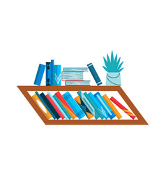 bookshelf with colorful books back to school vector image