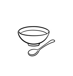bowl of soup with spoon hand drawn sketch icon vector image