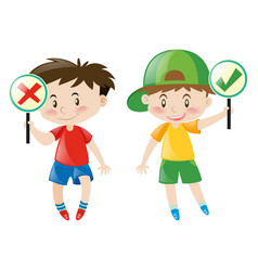 Boys holding right or wrong sign vector