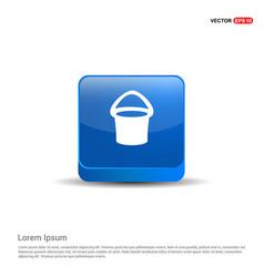 Bucket icon - 3d blue button vector