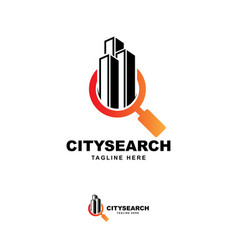 Building with searching symbol logo design vector