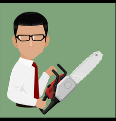 Businessman hold chainsaw vector