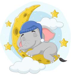 Cartoon elephant sleeping on moon vector