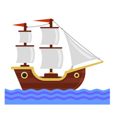 Cartoon ship with white sails flat style vector