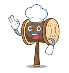 Chef mallet character cartoon style vector