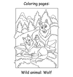 children coloring book page wolves vector image