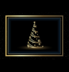 christmas background with golden xmas tree vector image