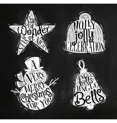 Christmas silhouettes star chalk vector image vector image