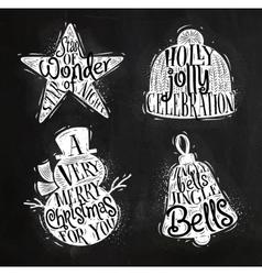 Christmas silhouettes star chalk vector