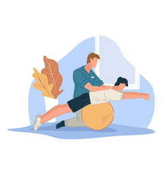 Coach helping character to stretch back sports vector