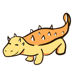cute ankylosaurus on white background vector image